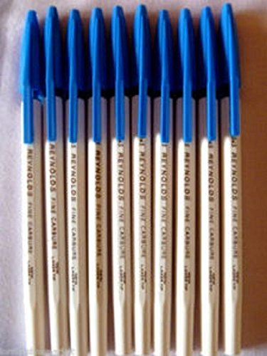 10 Pens Reynolds 045 Fine Carbure Ball Point Pen 0.45 Mm Tip Blue Brand ADD By Indian Cricketer Sachin Tendulkar