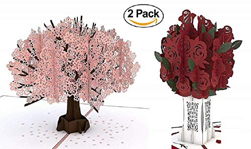 (Discount Gift Depot Pop up cards, 3d pop up card, greeting card, Hand made Rose Bouquet & Cherry Blossom Tree, Birthday Card, Flower Card, Romance Card, Wedding card, Thank You)