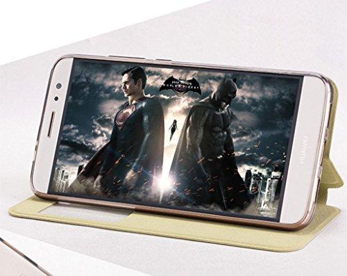 KaiTelin Huawei Nova Plus Funda - Ventanas Funda Carcasa Cierre Magnético Cuero Tapa Case Cover para Huawei Nova Plus - Gris Oro