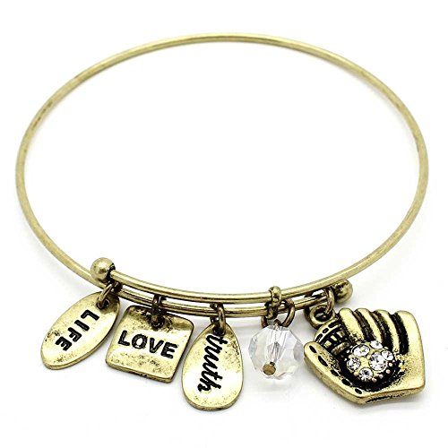KIS-Jewelry Symbology 'Baseball' Bangle Bracelet, Gold Plated - Expandable Wire Charm Bracelet Accented with Crystal Stones and One Shiny Glass Bead - Perfect Jewelry for Fashion