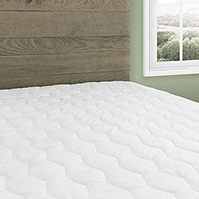 Beautyrest Cotton Top Mattress Pad Simmons Soft Cover Protector with Premium Fibers Expand-a-Grip Skirt Fits up to 15? (Queen)