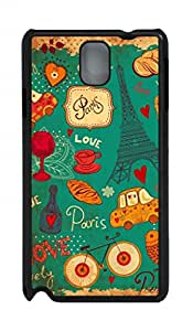 Hard Black Plastic Protective Case Cover for Samsung Galaxy Note 3 N9000,Retro Paris Case Shell for Samsung Galaxy Note 3 N9000