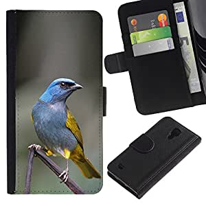 Graphic Case / Wallet Funda Cuero - Bird Grey Feather Branch - Samsung Galaxy S4 IV I9500