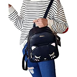 FWQ Casual Backpack Cartoon Cat Handbag Travel Bag (Black)