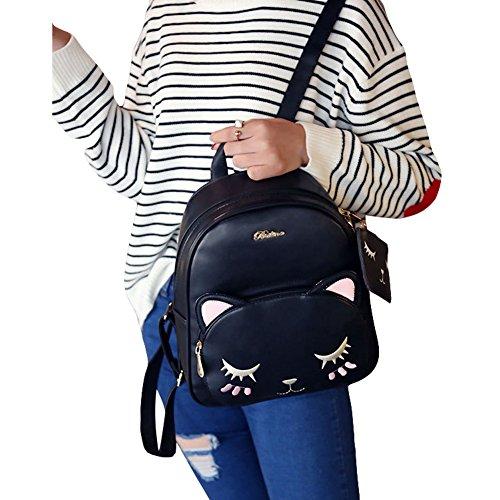 FWQ Casual Backpack Cartoon Cat Handbag Travel Bag (Black)