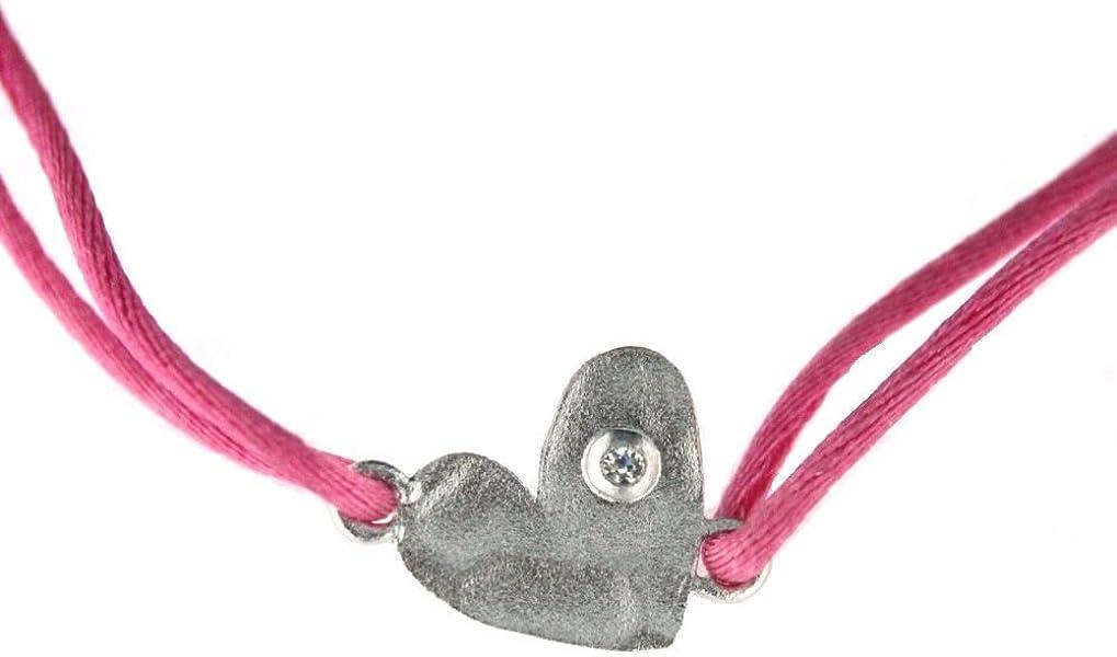 Amazon.com: Agatha Ruiz de la Prada Sterling Silver hammer heart and Cubic Zirconia pink cord ajustable bracelet: Charm Bracelets: Jewelry