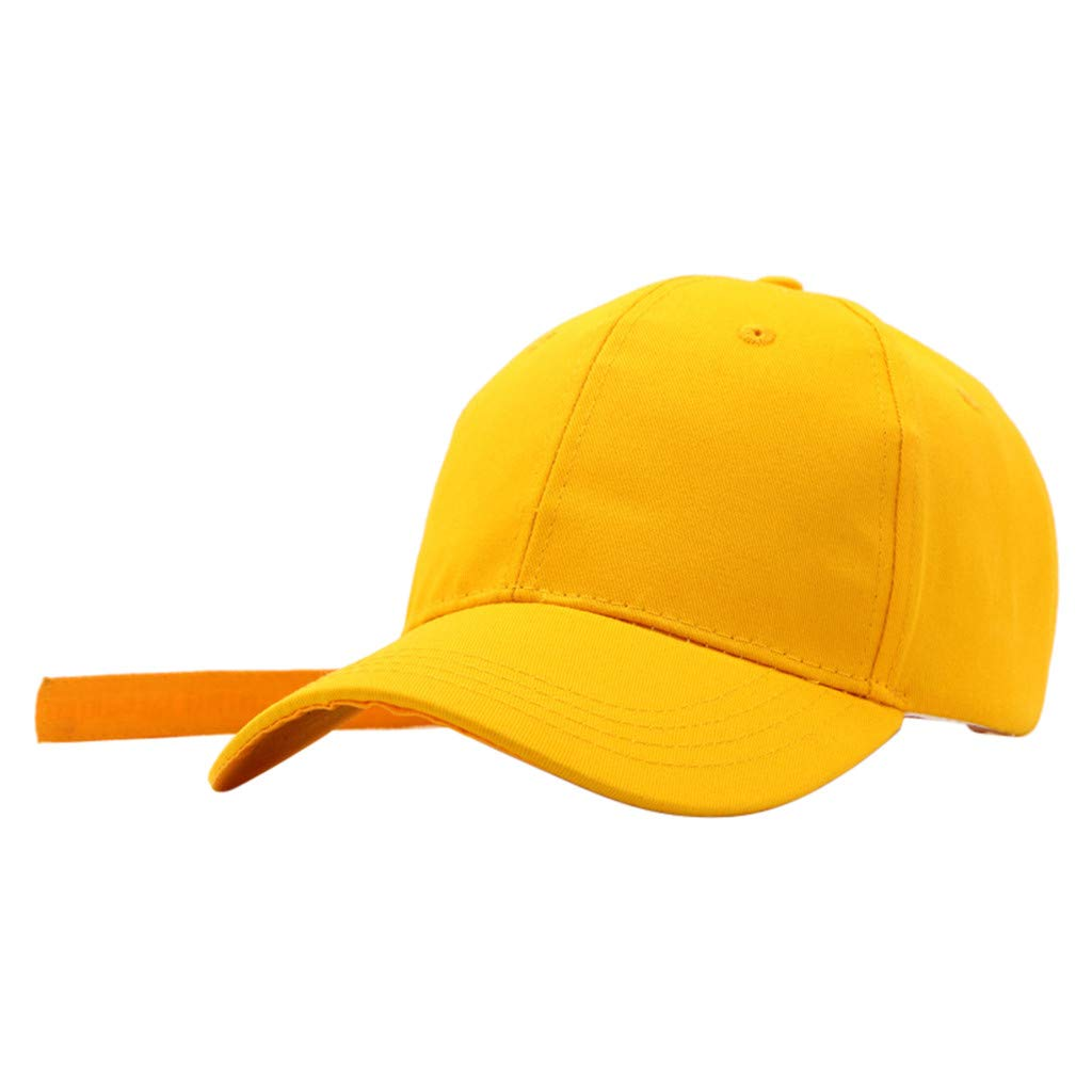 Unisex Fashion Baseball Visor Cap Ponytail Messy Buns Trucker Plain Dad Hat Adjustable Snapback Sun Hat (Yellow)