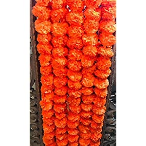 5 pack Artificial Dark Orange Marigold flower garlands 5 ft long- for use in parties, celebrations, Indian weddings, Indian themed event, decorations, house warming, photo prop, Diwali, Ganesh Fest 4