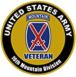 Chiam-Mart 1 Set Persuasive Unique United States Army Veteran 10th Mountain Division US Sticker Sign Bumper Home Military Decal Cars Vinyl Laptop Wall Hoverboard Car Stickers Decor Size 8''x8''