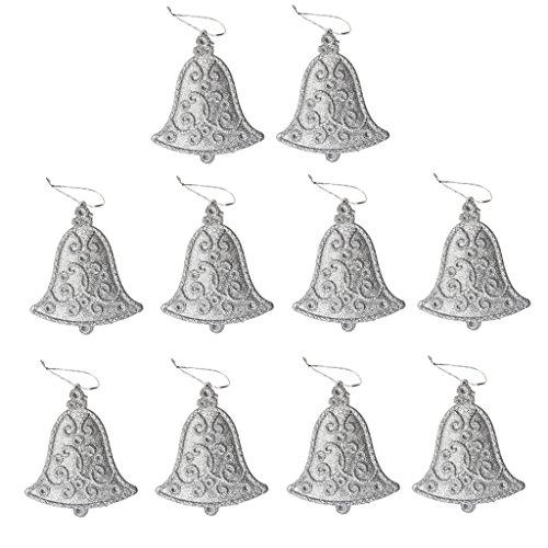 10pcs Glitter Bell Shape Christmas Tree Decoration Hanger Ornaments Silver - 1