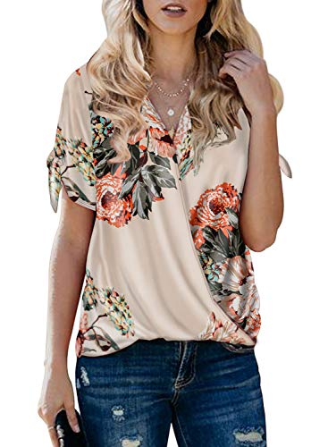 Itsmode Floral Print Chiffon Blouses for Women Short Sleeve Ladies Cold Shoulder Bow Tie V Neck Wrap Front Tunic Flare Shirts Loose Tops Apricot Medium