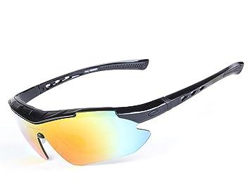 Gafas Polarizadas Deporte Bici Anti UV400 Gafas para Correr Running Antivaho con 5 Lentes Intercambiables Adaptadas
