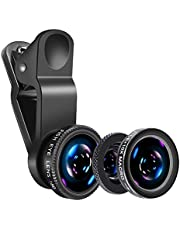 Universal Phone Camera Lens - LSVTR 3 in 1 Phone Lens Kit with 180 Degrees Fisheye Len + Super Wide Angle Lens + 10X Macro Lens for iPhone 7/6s Plus/6s/6/6 Plus Samsung iPad and Most Smartphones (Black)