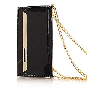 iPhone 5s case CBWDL iphone case Luxury series iphone 5 case Patent leather Hand chain Wallet Flip Case for Apple iPhone 5/5s(Black)