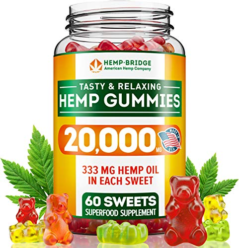 Hemp Gummies 20000MG - Premium Hemp Gummy Bears for Stress & Anxiety Relief - Made in USA - Hemp Extract Natural Calm Gummies - Efficient with Inflammation, Stress & Sleep Issues - Omega 3 Gummies