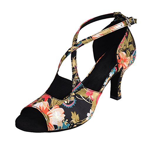 HXYOO Latin Dance Shoes Women Indoor Floral Satin 3