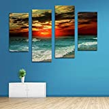 BFY Unframed Modern Oil Painting Sunset Sea Waves Huge Wall Decor Art On Canvas
