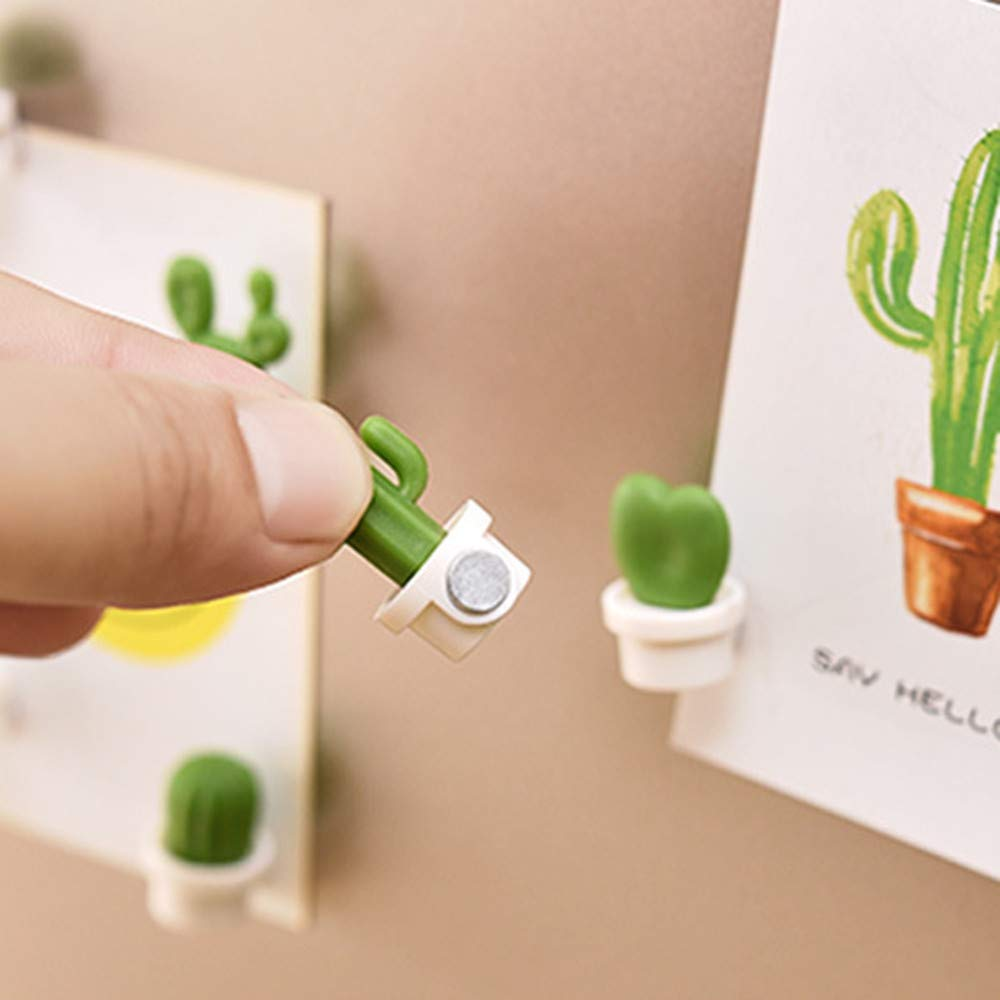 SUJING 6pcs Cute Succulent Plant Magnetic Refrigerator Magnets Cute Home Decor Refrigerator Stickers Creative Notice Message Magnetic Stickers Gift (White)