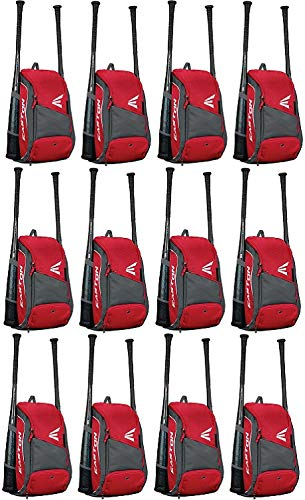 EASTON GAME READY Bat & Equipment Backpack Bag | Baseball Softball | 2019 | Red | 2 Bat Pockets | Vented Main Compartment | Vented Shoe Pocket | Zippered Valuables Pocket | Fence Hook by Easton
