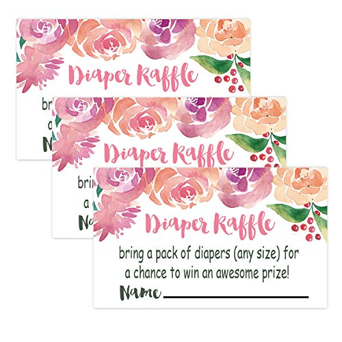 50 Watercolor Flowers Diaper Raffle Tickets for Baby Shower Invitation Inserts, Baby Shower Game Cards. ()