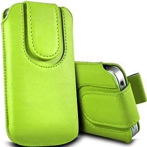 Tailor My Mobile - Samsung Galaxy J1 premium de cuero magnética de la PU Tire Tab Flip Case cubierta de bolsa - Verde