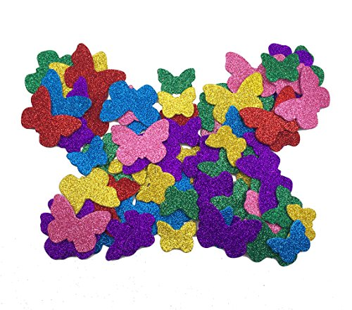 Hyamass 6 Packs (Approx 80pcs) Multicolor Self Adhesive Glitter Butterfly Foam Stickers (Butterfly)