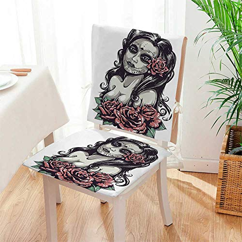 Mikihome Chair Cushion Dead Sexy Girl with Roses Mexican Sugar Skull Makeup Aztec Culture 2 Piece Set Office Chair Car Seat Cushion Mat:W17 x H17/Backrest:W17 x H36 by Mikihome
