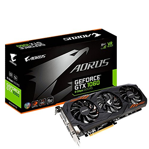 Price comparison product image Gigabyte GV-N1060AORUS-6GD AORUS GeForce GTX 1060 6G 9 Gbps Computer Graphics Card