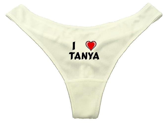 Tanga de color blanco con I Love Tanya (Nombre de pila/apellido/apodo