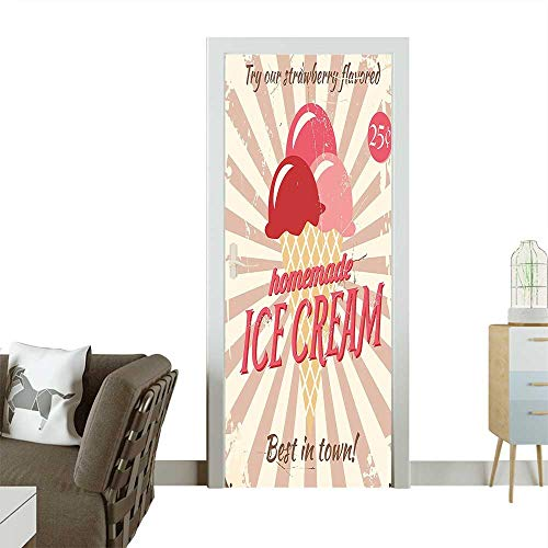Waterproof Decoration Door Decals Vintage Sign with Homemade Ice Cream Best in Town Quote Print Red Perfect ornamentW35.4 x H78.7 INCH ()
