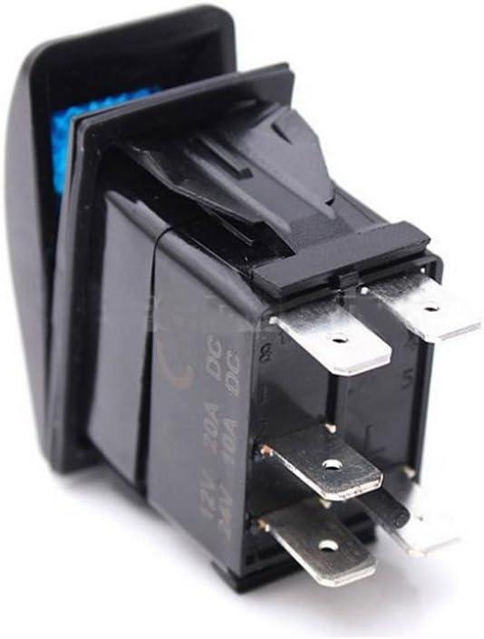 Mintice 12V 24V 5-polig KFZ Laser Licht Blau LED Lichtleiste Beleuchtet Wippenschalter Kippschalter Schalter Horn Light Momentane