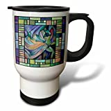 3dRose tm_46761_1 Art Deco Dancer Belly Dance Travel Mug, 14-Ounce, Stainless Steel