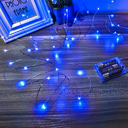 Ariceleo Led Fairy Lights Battery Operated, 1 Pack Mini Battery Powered Copper Wire Starry Fairy Lights for Bedroom, Christmas, Parties, Wedding, Centerpiece, Decoration (5m/16ft Blue) (Christmas Centerpieces Blue)