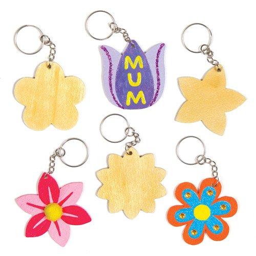 Baker Ross Flower Wooden Keyring & Bag Dangler Kits (Pack of 8) for Children to Make and Decorate - Creative Spring Craft Set -