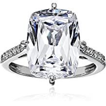 """Platinum-Plated Sterling Silver Celebrity """"Kim"""" Ring made with Swarovski Zirconia Accents"""