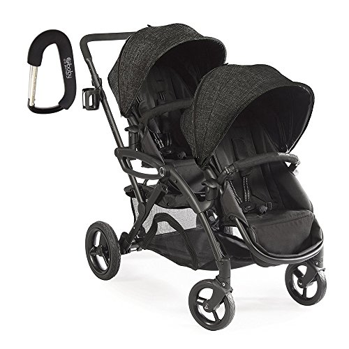 2017 Contours Option Elite Tandem Double Stroller with FREE BABY GEAR XPO Stroller Hook (Carbon) by Contours