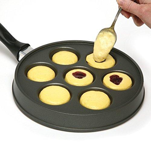 (Ebelskiver Pan, Danish Aebleskiver Stuffed Pancake Pan, Aebleskivers, Black)