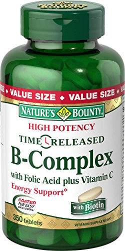 Natures Bounty B Complex with Folic Acid Plus Vitamin C Tablets, 350 Count