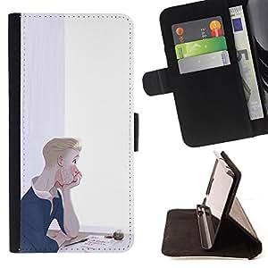 BullDog Case - FOR/Apple Iphone 6 PLUS 5.5 / - / THOUGHTFUL BOY PAINTING ART LETTER LOVE INK /- Monedero de cuero de la PU Llevar cubierta de la caja con el ID Credit Card Slots Flip funda de cuer