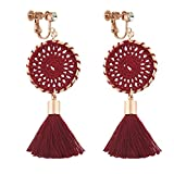 Dangle Rhinestone Clip on Earrings Handmade Bohemian Long Thread Tassel Vintage Ethnic Lucky Jewelry Red