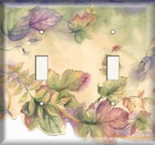 Double Light Switchplate Cover - Colorful Leaves