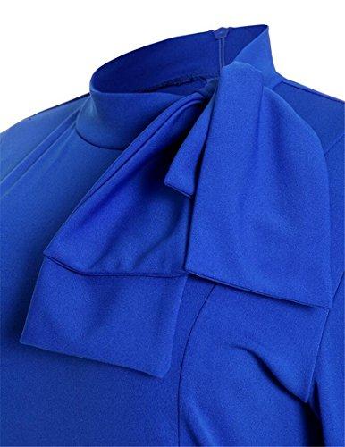 Midi Bodycon Peplum Femminile Domple Lunga Promenade Manica Da Moda Vestito Affari Blu rCBedxQoW