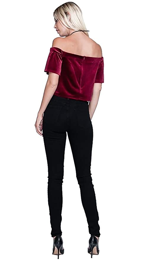 8a167e8a4b2677 Harem Girl Velvet Off Shoulder Crop Top Wine Red at Amazon Women s Clothing  store
