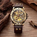 Carrie Hughes Men's Bronze Skeleton Steampunk Automatic Mechanical Leather Watch 8