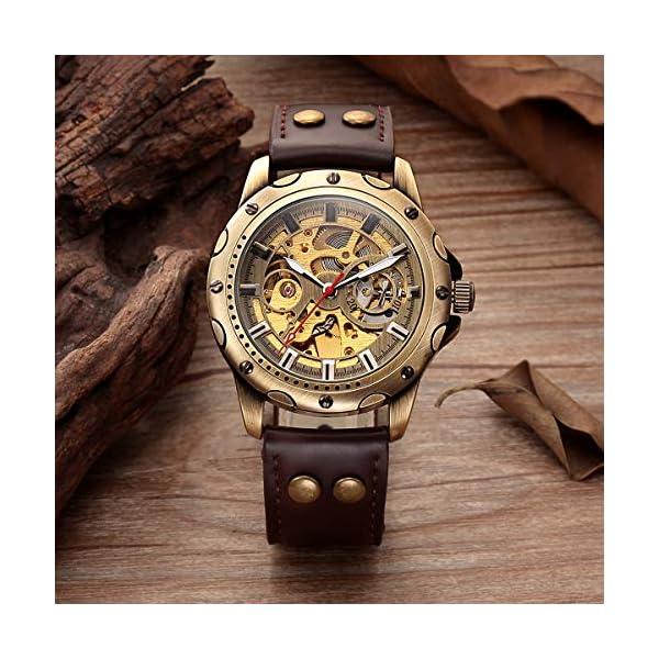 Carrie Hughes Men's Bronze Skeleton Steampunk Automatic Mechanical Leather Watch BTMAN53 5