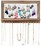 SoCal Buttercup Rustic Jewelry Organizer Wall Mounted - Wooden Wall Mount Display Holder for Earrings, Necklaces, Bracelets, Rings, and Many Other Accessories