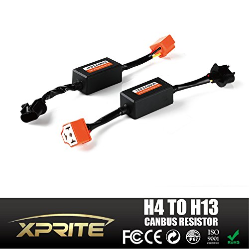 Xprite LED Headlight H4 (9003) Female to H13 (9008) Male Canbus Wiring Kit Computer Warning Error Free Anti Flicker Resistor Canceler Decoder (Pair)
