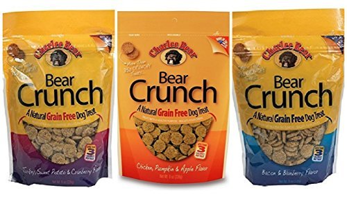 Charlee Bear Grain Free Bear Crunch Treats 3 Flavor Variety Bundle: (1) Bacon & Blueberry Flavor, (1) Chicken, Pumpkin & Apple Flavor, and (1) Turkey, Sweet Potato & Cranberry Flavor (3-Pack (Charlee Bear Training Treats)