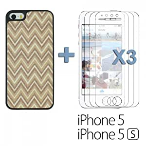 OnlineBestDigital - Sand Surface W Shape Hard Back Cover Case for Apple iPhone 5S / Apple iPhone 5 - Brown with 3 Screen Protectors