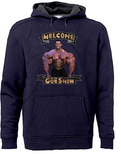 BSW Men's Welcome to The Gun Show Muscle Arms Premium Hoodie LRG Navy/Charc